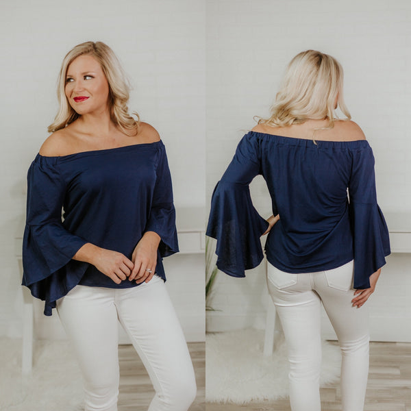 {Last Chance} Nellie Knit Off Shoulder Bell Sleeve Top ~ Navy