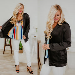 *NEW* Oh My Satin Tailored Pocket Blazer ~ Black