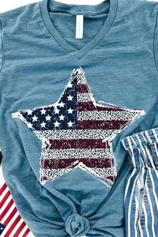 *NEW* Patriotic Animal Print Flag Star Graphic Tee