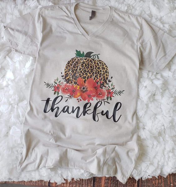 *NEW* Thankful Leopard Pumpkin Graphic Tee ~ Sand - ShopBeYouBoutique