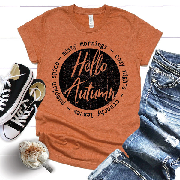 {Last Chance} Hello Autumn Graphic Tee ~ Heather Autumn *FINAL SALE* - Be You Boutique