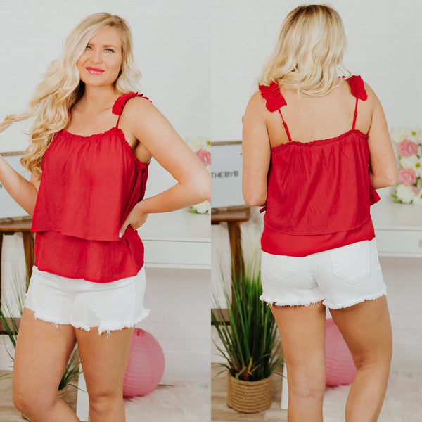 Ready To Go Tiered Strap Tank ~ Red