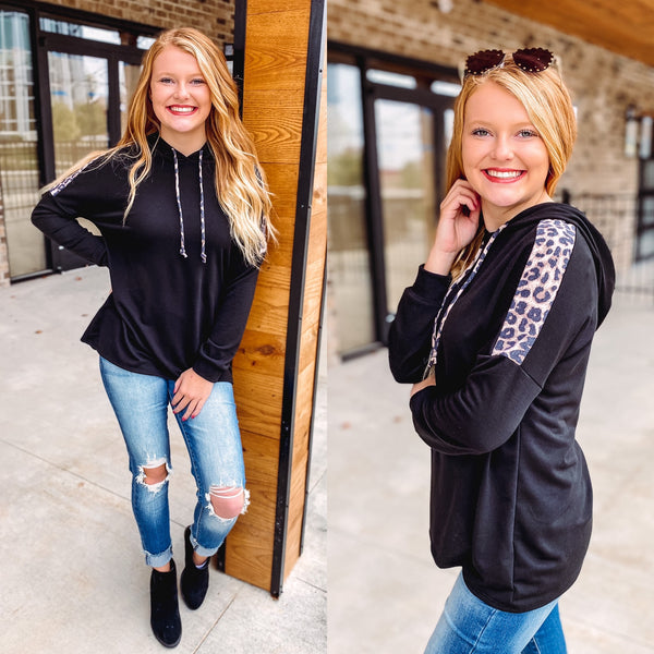 *NEW* Finley Hoodie with Leopard Detail ~ Black