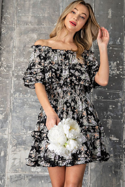 Jaydon Floral Print Ruffle Dress