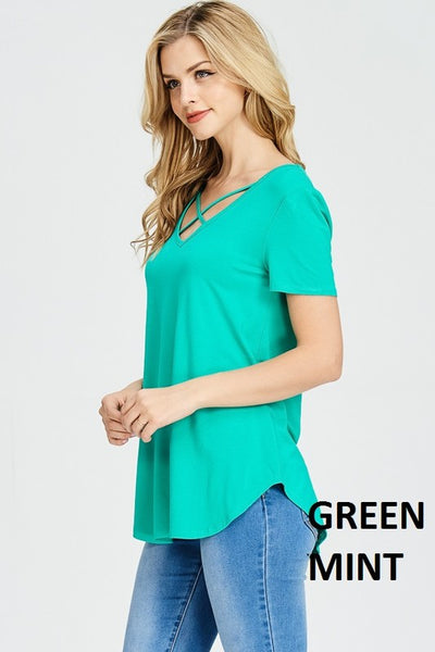 Eve Basic Criss Cross Top ~ Mint