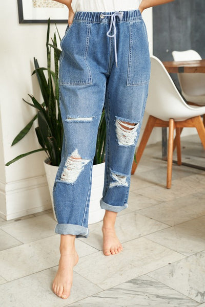 Vicki High Waisted Distressed Straight Leg Jeans