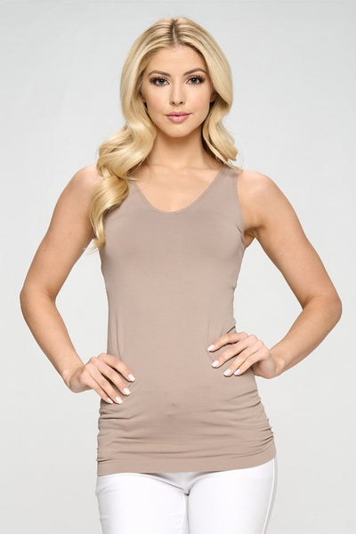 Cathy Basic Reversible Seamless Tank ~ Light Mocha