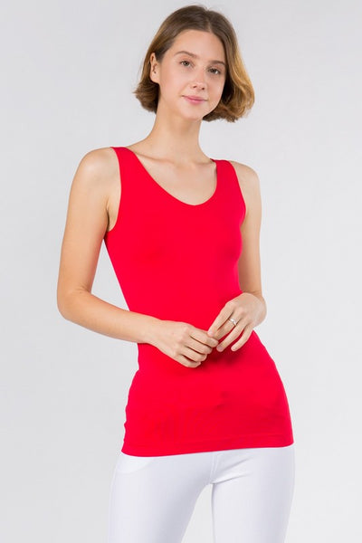 Cathy Basic Reversible Seamless Tank ~ Red