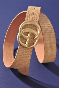 Georgie Woven Like Vegan Leather Belt ~ Beige