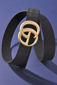 Georgie Woven Like Vegan Leather Belt ~ Black