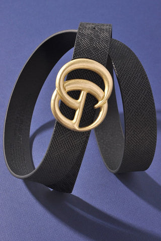 *NEW* Georgie Woven Like Vegan Leather Belt ~ Black