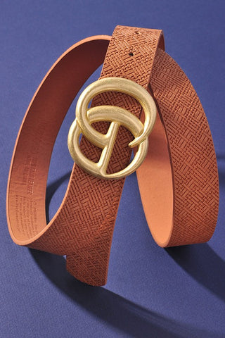 *NEW* Georgie Woven Like Vegan Leather Belt ~ Brown