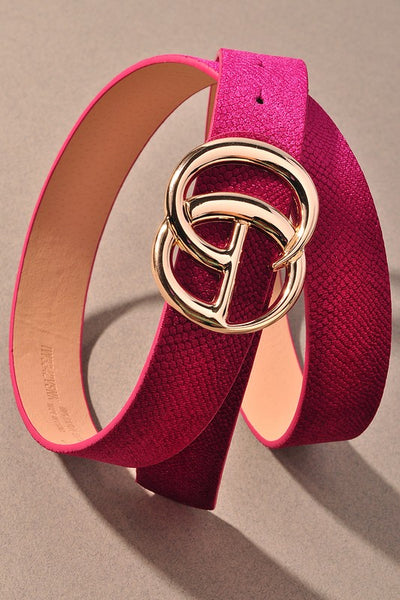GIGI Velvety Animal Print Vegan Leather Belt ~ Magenta