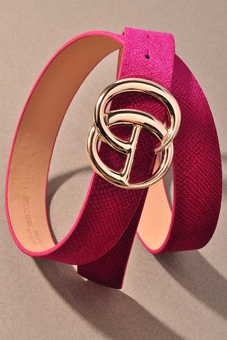*NEW* GIGI Velvety Animal Print Vegan Leather Belt ~ Magenta
