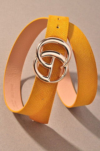 *NEW* GIGI Velvety Animal Print Vegan Leather Belt ~ Mustard
