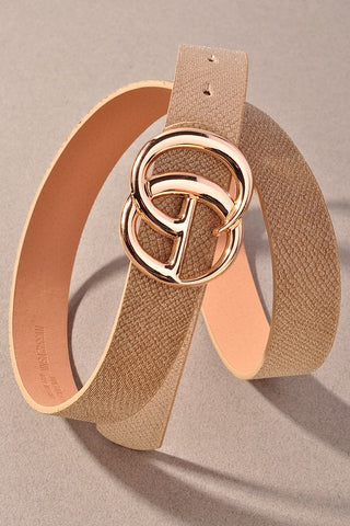 *NEW* GIGI Velvety Animal Print Vegan Leather Belt ~ Taupe