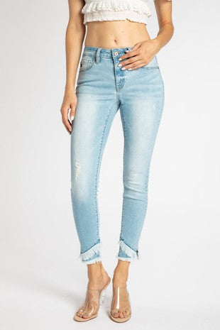 *NEW* Kancan Emilia Mid Rise Ankle Skinny ~ Light - Be You Boutique