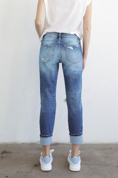*New* Kancan Payne High Rise Paint Splattered Distressed Boy Friend Fit Skinny Jeans