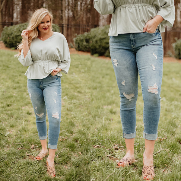 {Last Chance} Kancan Megan Mid Rise Cropped Skinny Jeans ~ Light *FINAL SALE*