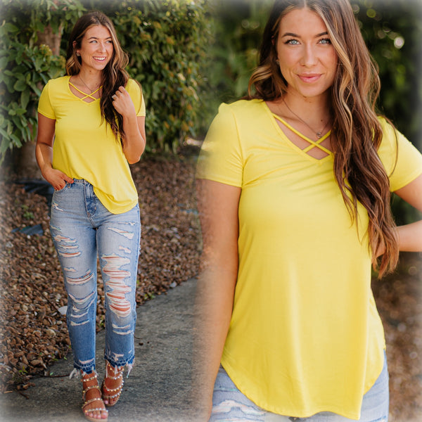 Eve Basic Criss Cross Top ~ Yellow