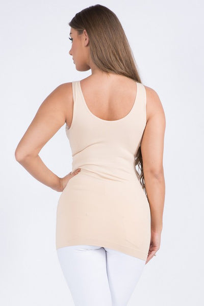 Cathy Basic Reversible Seamless Tank ~ Nude