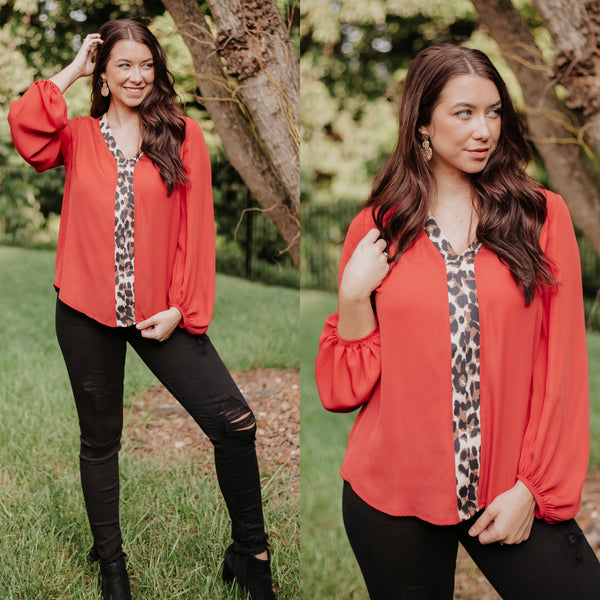 *NEW* Lacey Leopard Contrast Top