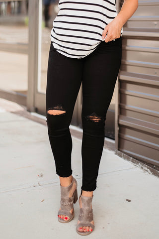 *NEW* Kancan Molly Distressed Ankle Skinny Jeans / Zipper Detail ~ Black - ShopBeYouBoutique