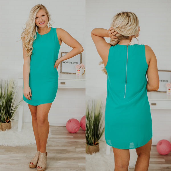 Audrey Shift Dress ~ Sea Green