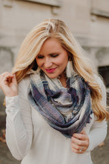 Gradient Plaid Infinity Scarf ~ Navy