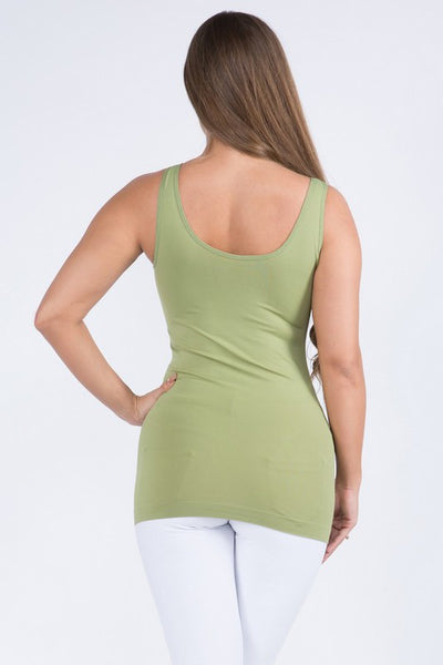 Cathy Basic Reversible Seamless Tank ~ Olive