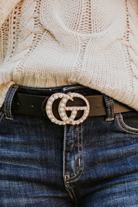 Pearly Girl Vegan Leather Belt ~ Black