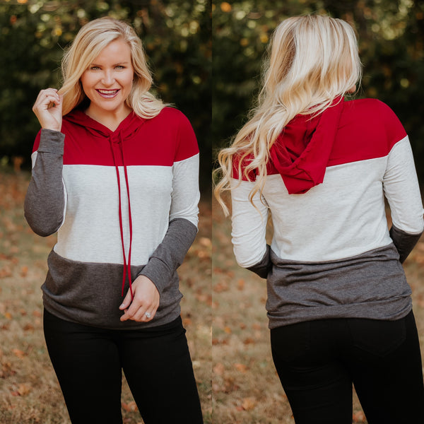 *NEW* Makara Color Block Hoodie ~ Red - ShopBeYouBoutique