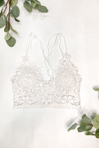 *New* All Day Dream Crochet Lace Bralette ~ White