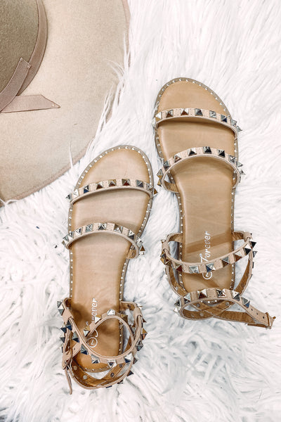 Tulla Taupe Studded Strap Sandal