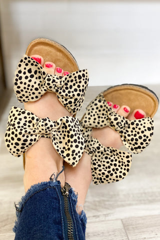 *NEW* Cheetah Boardwalk Bow Tie Slide Sandals