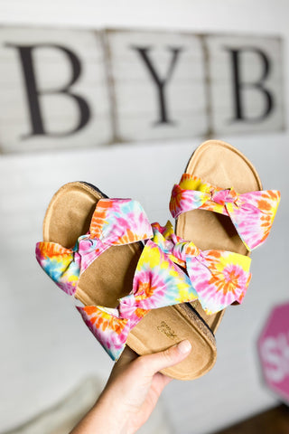 *NEW* Tie Dye Boardwalk Bow Tie Slide Sandals