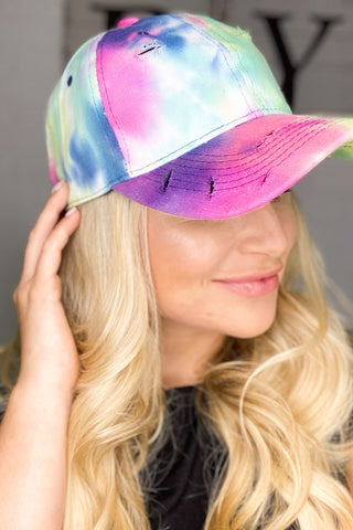 *New* Distressed Tie Dye Hat