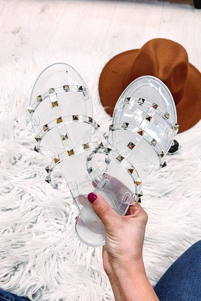 Melissay Clear T Strap Studded Sandals