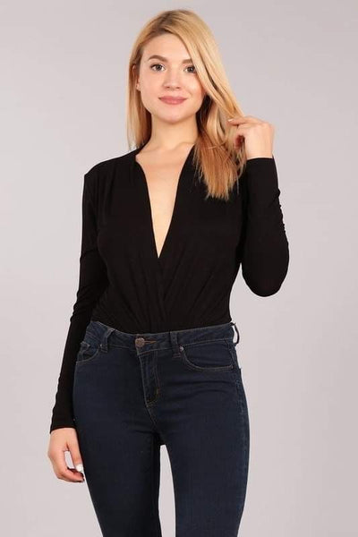 Valerie Surplice V Neck Bodysuit - Black
