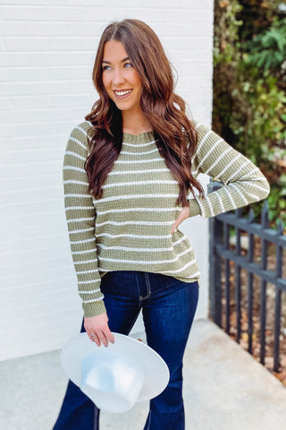 *NEW* Alyssa Crew Neck Striped Sweater