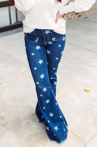 Cecila High Rise Flare Star Denim