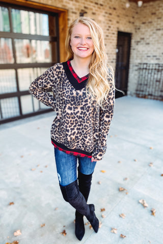 {Last Chance} Juliana Fleece Leopard Pullover **FINAL SALE**