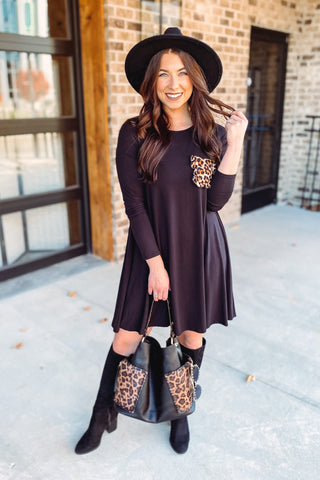 Lucia A Line Dress Leopard Pocket