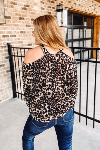 Alexis Cold Shoulder Leopard Top