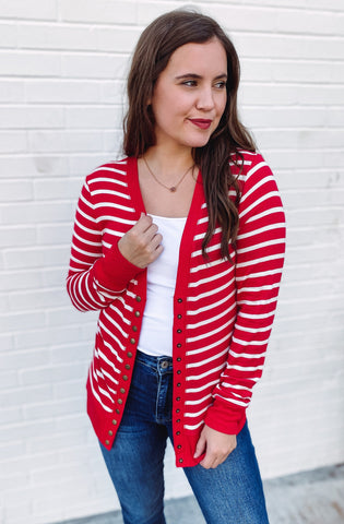 Makayla Snap Front Striped Cardigan **AMAZING DEAL ~ FINAL SALE**