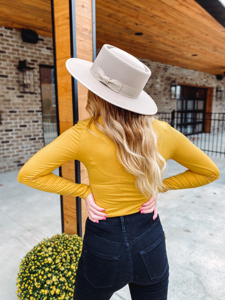 Crystal Long Sleeve Bodysuit ~ Mustard