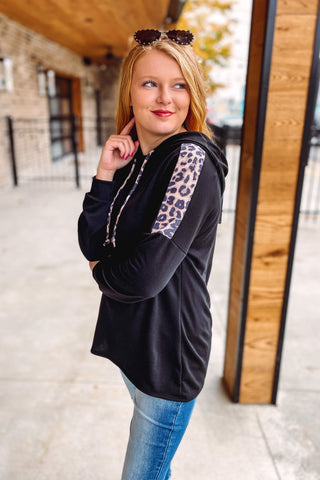 Finley Hoodie with Leopard Detail ~ Black