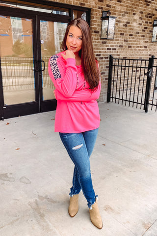 {Last Chance} Finley Hoodie with Leopard Detail ~ Pink  **ALL SALES FINAL**