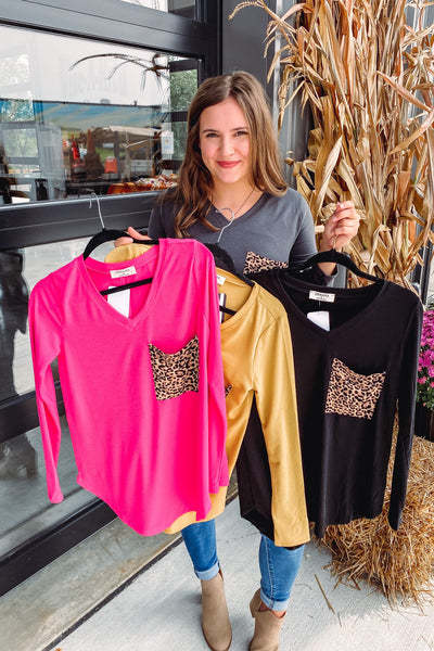Heddie V Neck Long Sleeve Top Leopard Patch **AMAZING DEAL ~ FINAL SALE**