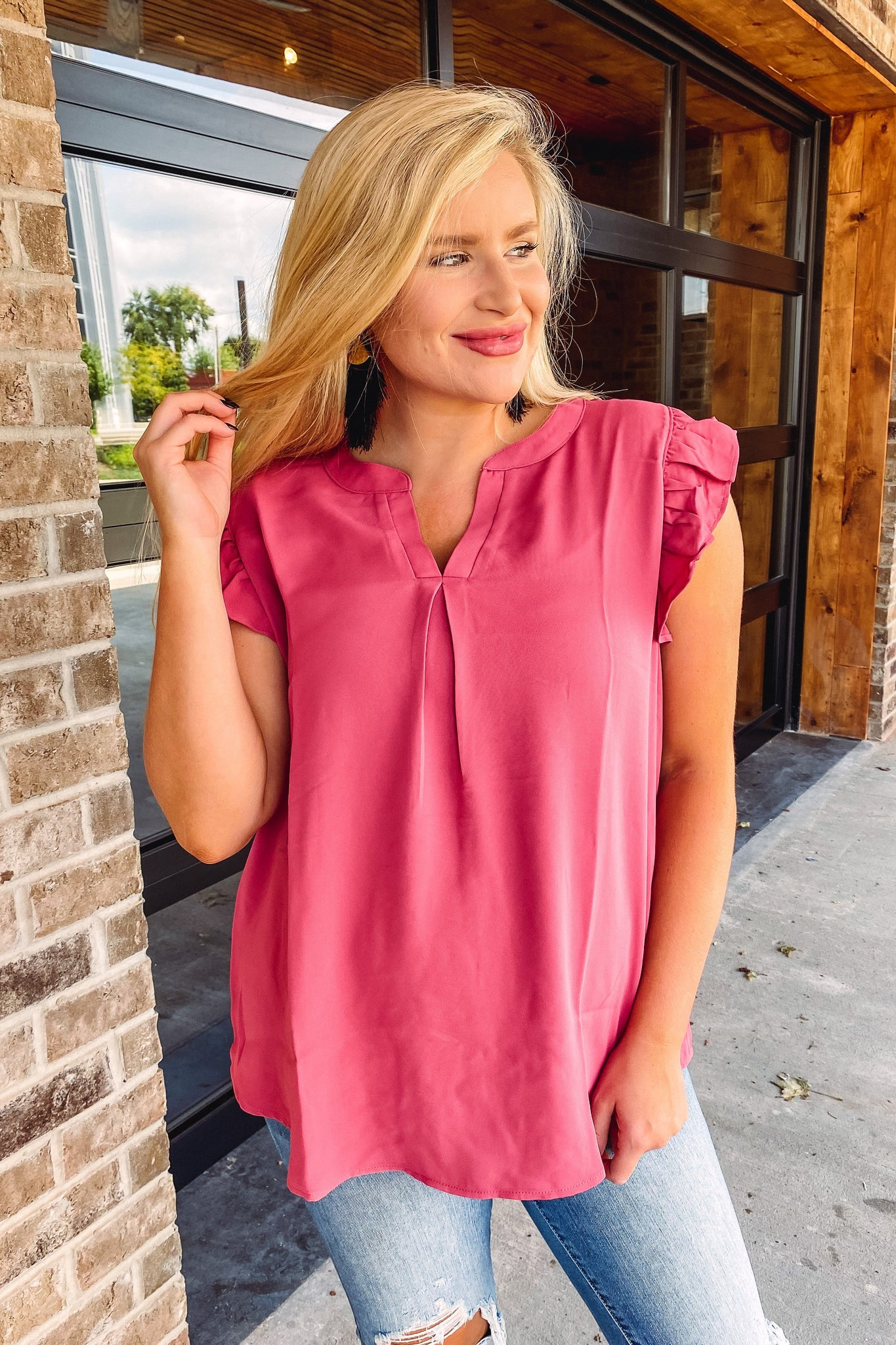 *NEW* Lola Ruffled Sleeve High Low Top -**AMAZING DEAL ~ FINAL SALE**